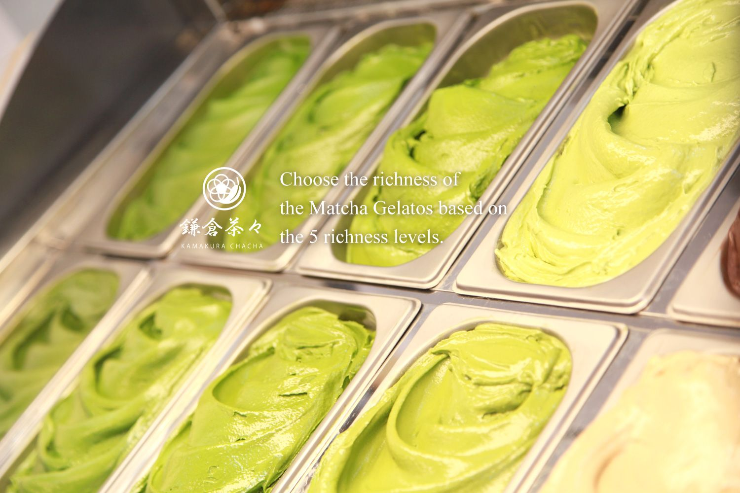 Choose the richness of the Matcha Gelatos based on the 5 richness levels.